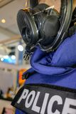 Mannequin in Police uniform and wearing safety mask royalty free stock photos