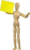 Mannequin with post it note. Mannequin with yellow post it note isolated Royalty Free Stock Photos