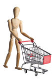 Mannequin Pushing A Shopping Cart Stock Images