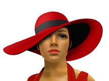 Mannequin in red with big hat Royalty Free Stock Images