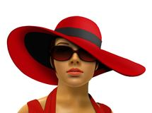 Mannequin in red with big hat and shades Royalty Free Stock Photo