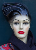 Mannequin with red lips and black hair Royalty Free Stock Image