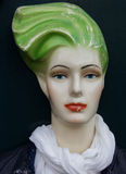 Mannequin with red lips and green hair Stock Images