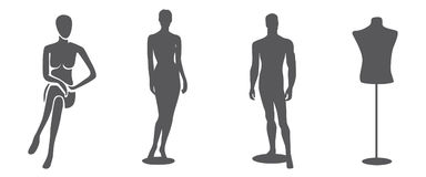 Mannequin silhouettes. Four silhouettes of mannequin, isolated Royalty Free Stock Photography