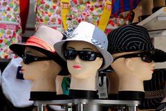 Mannequin. Three female mannequin wearing hats stock photos