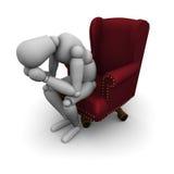 Mannequin triste s'asseyant sur la présidence de bureau Photographie stock libre de droits