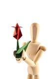 Mannequin und rote Blume Stockfotografie