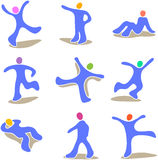 Mannequin in various positions. Illustration of a blue mannequin in nine different positions including lying down, walking, running, kicking each with the figure Stock Photo