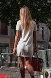 Mannequin walking with white dress at the fashion show in Mulhouse Stock Images