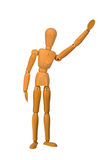 Mannequin waving. A wooden artists mannequin waving stock photo