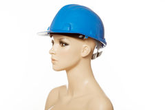 Mannequin wearing blue safety helmet on white Royalty Free Stock Photography