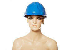 Mannequin wearing blue safety helmet on white Royalty Free Stock Photos