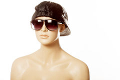 Mannequin wearing fashion sunglasses Royalty Free Stock Photo