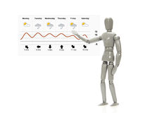 Mannequin with weather forecast. Grey mannequin pointing at the weather forecast Stock Photo