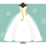 Mannequin with a wedding dress. Vector illustration. Dummy with wedding dress and centimeter on sewing background Royalty Free Stock Photography