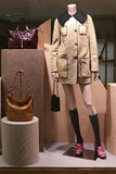 Mannequin with winter coat and leather handbags Royalty Free Stock Photography