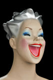 Mannequin woman head is laughing with open mouth Royalty Free Stock Photos