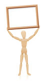 Mannequin Wood Holding Up Board. Mannequin holding up a board. Illustration over white background Stock Images