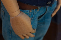 Mannequin wooden hand. Close up of mannequin wooden hand royalty free stock image
