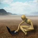 Mannequin working in the desert. Very high resolution 3d rendering of a wooden mannequin sitting in a desert with his laptop Stock Image
