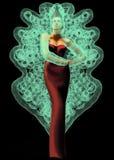 Mannequin z czerwieni suknią i przesłona motylem ilustracja wektor