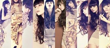 Mannequinbrunette met lang krullend haar Stock Afbeelding