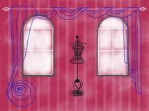 Mannequingekritzel im Rosenraum gezeichnet für Modedesign-Grußkarte Stockbild