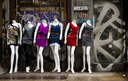 Mannequins. Outside a clothing store Royalty Free Stock Photos