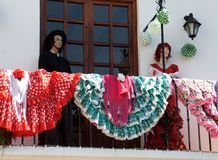Mannequins on the balcon. With Andalusian dresses (Peniscola - Spain Stock Image