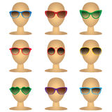Mannequins bald heads with fashion sunglasses. Vector illustration of eyeglasses isolated objects on white background. Mannequins bald heads with fashion Royalty Free Stock Photography