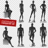 Mannequins Black Realistic Transparent Background Set Royalty Free Stock Images