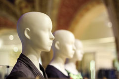 Mannequins. Bold female mannequin headshot with defocused background Stock Photography