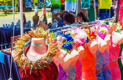 Mannequins in clothing in the local market, Rarotonga, Aitutaki, Cook Islands. With selective focus royalty free stock image