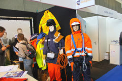 Mannequins in clothing welders and fitters at the exhibition Off. Shore Energy 2012. Netherlands royalty free stock photos