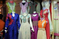 Mannequins dressed in latest Indian dresses in front of a retail cloth shop in Kolkata Stock Photos