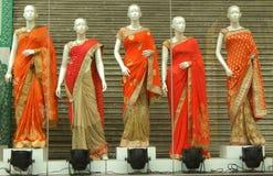 Mannequins dressed in latest Indian saris Stock Photos