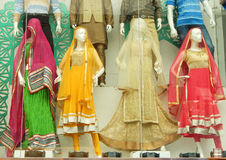 Mannequins dressed in latest Indian saris Royalty Free Stock Images