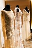 Mannequins dressed in wedding dresses. Three mannequins in wedding dresses Royalty Free Stock Photo