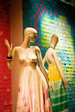 Mannequins in fancy dresses. Store display with two mannequins in fancy dresses Royalty Free Stock Photo