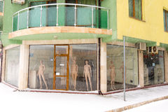 Mannequins are freezing not in Pomorie, Bulgaria, 31 december Royalty Free Stock Image
