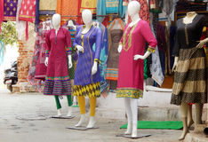 Mannequins in front of a clothes retail shop Royalty Free Stock Photography