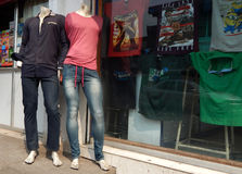 Mannequins in front of a clothes retail shop Stock Photo