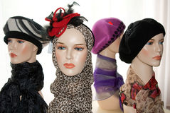 Mannequins with hats Royalty Free Stock Image