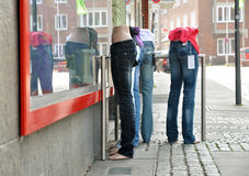 Mannequins in jeans. In front of Retail Shop Stock Photos