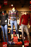 Mannequins with Modern Winter Clothing Retail Shop Stock Photography