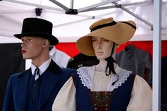 Mannequins in Old-Fashion Dresses. Couple of mannequins dressed in old-fashion clothes Stock Photography