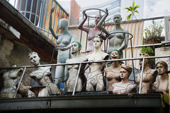 Mannequins on the roof of a building, Singapore Stock Photo