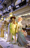 Mannequins with samples of evening dresses. RUSSIA, MOSCOW, DECEMBER, 30, 2014 - Mannequins with samples of evening dresses in Modern shopping center GUM, Moscow Royalty Free Stock Images