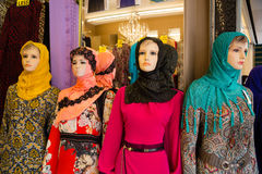 Mannequins in shop window in Arab quarter Stock Photo