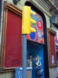 Mannequins in Shop Window, Yellow Traffic Light, La Rambla, Barcelona Royalty Free Stock Image